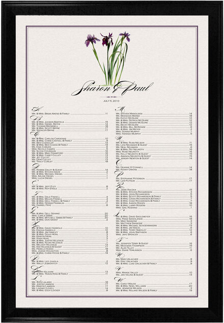 Photograph of Wispy Iris Seating Charts