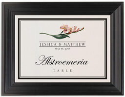 Framed Photograph of Assorted Flowers and Monogram Table Names
