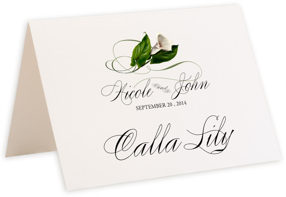 Photograph of Tented Calla Lily Swirl Table Names