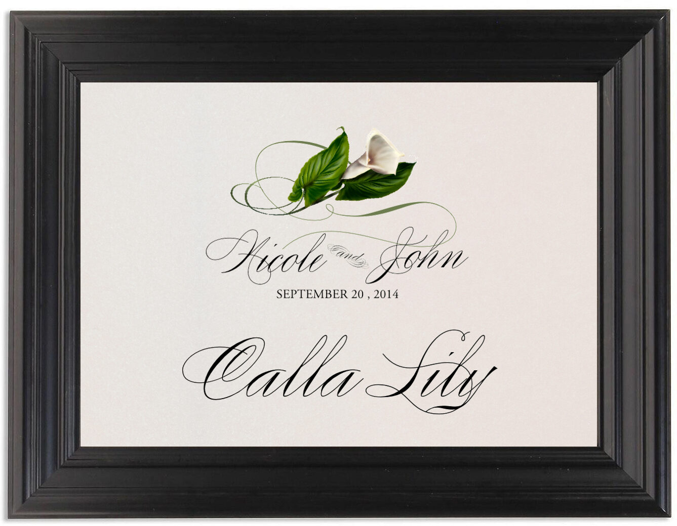 Framed Photograph of Calla Lily Swirl Table Names