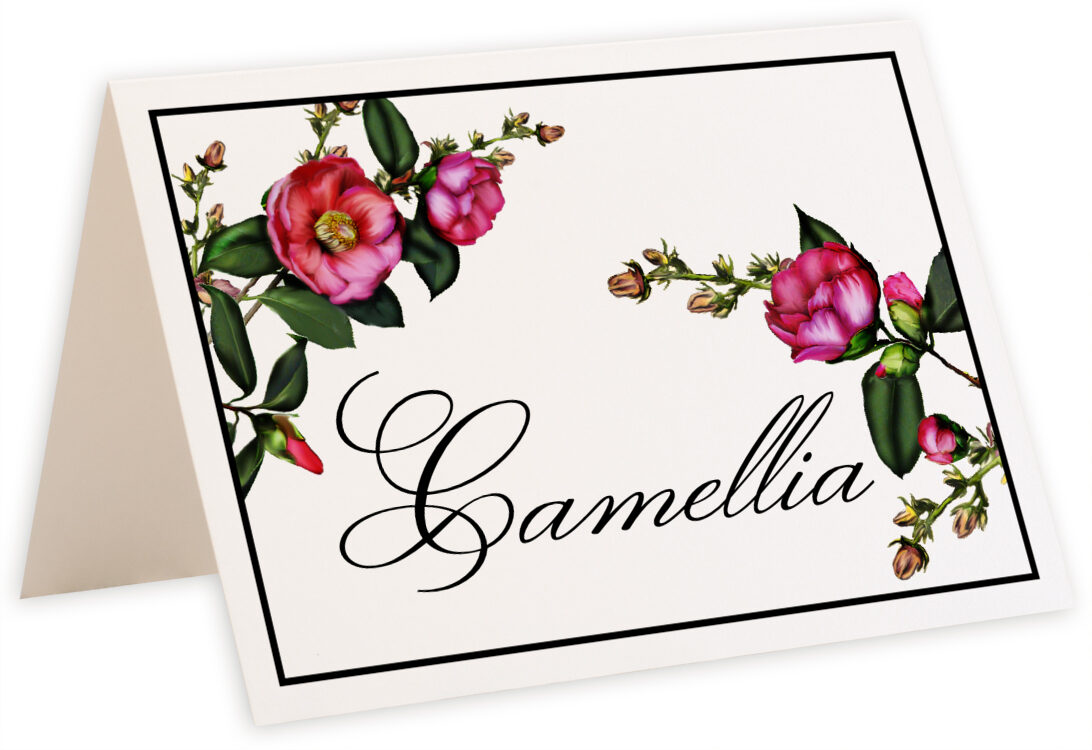 Wedding table name cards with pink flower graphics table for Table design names