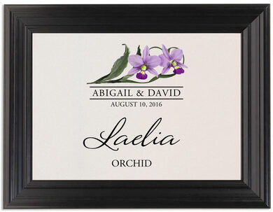 Framed Photograph of Orchid Assortment Table Names