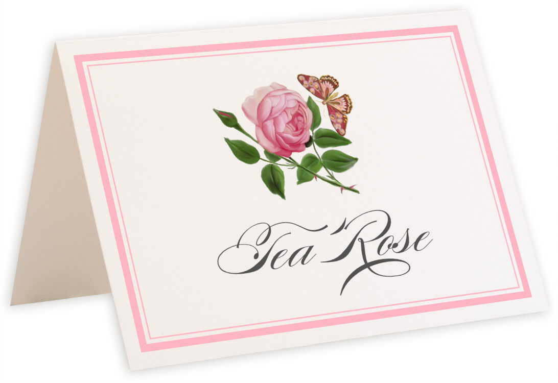 Photograph of Tented Pink Tea Rose Table Names
