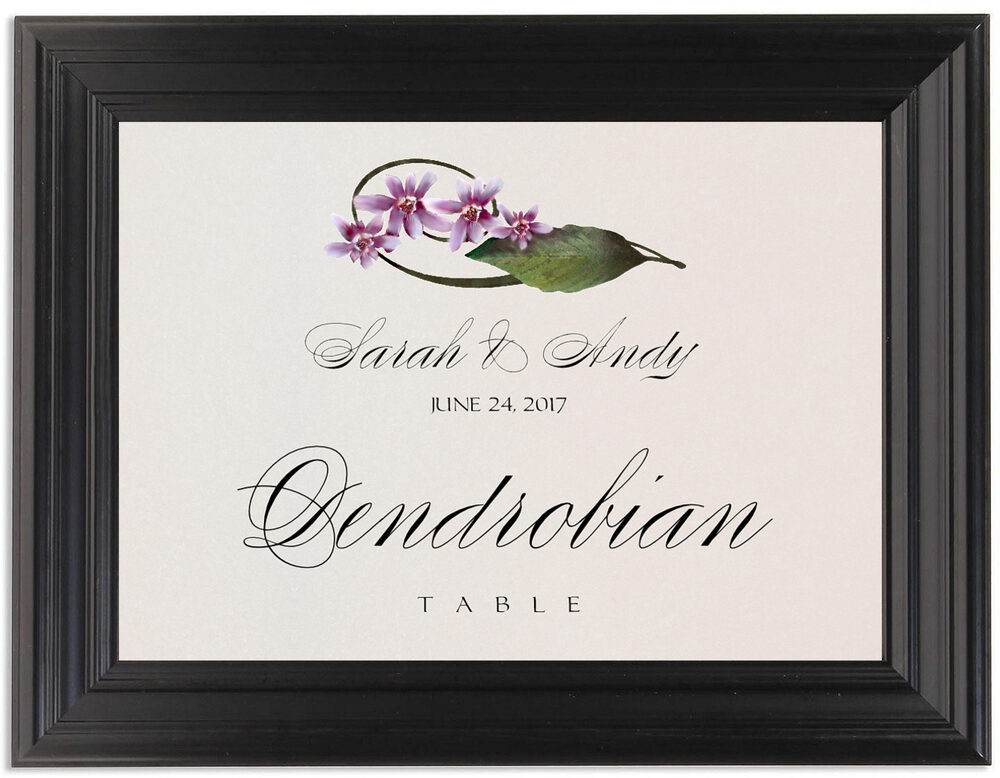 Framed Photograph of Purple Calypso Orchid Table Names