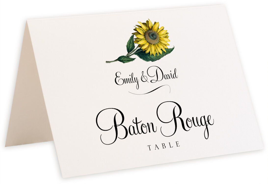 Photograph of Tented Sunflower Table Names