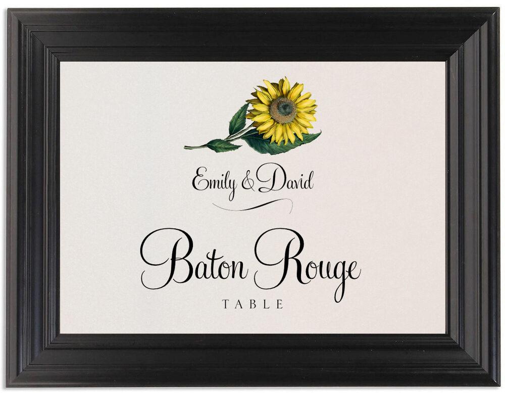 Framed Photograph of Sunflower Table Names