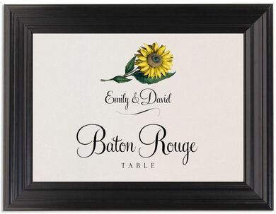 Framed Photograph of Sunflower Table Names