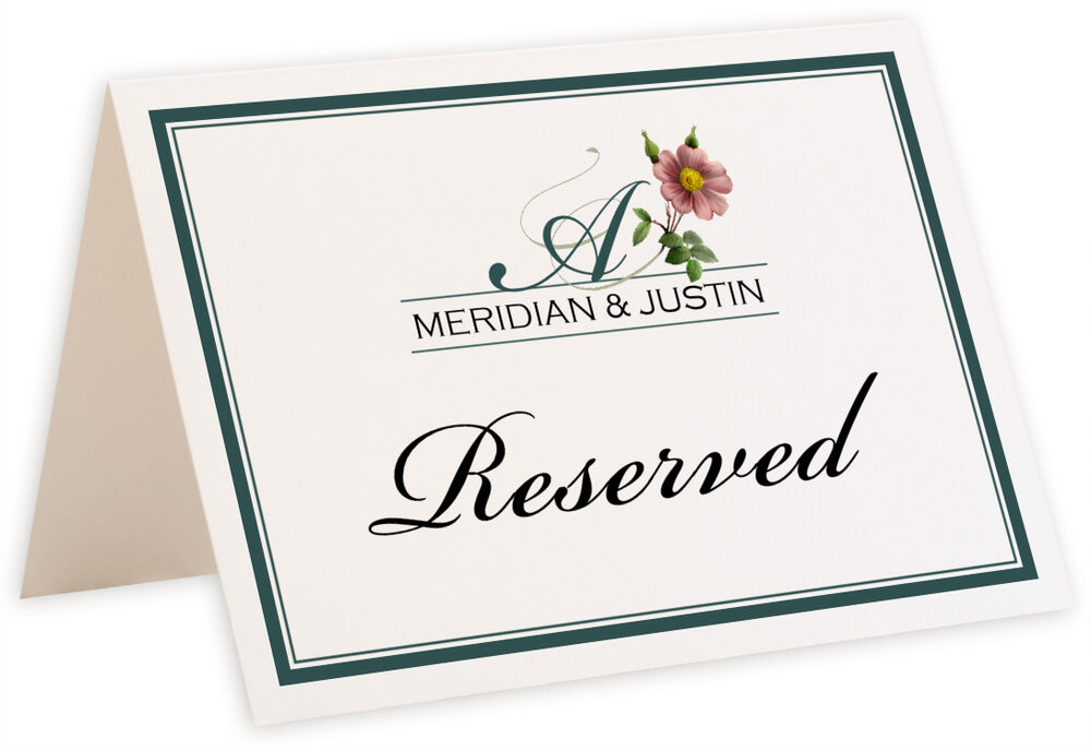 Photograph of Tented Wild Pink Rose Swirl Table Names