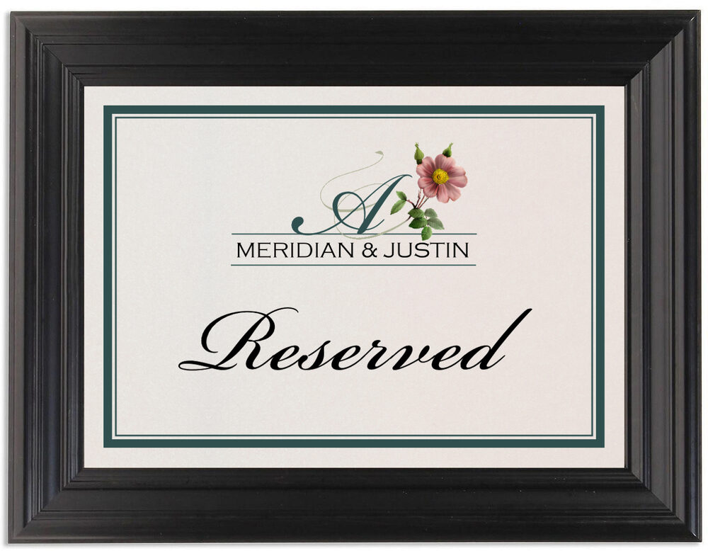 Framed Photograph of Wild Pink Rose Swirl Table Names