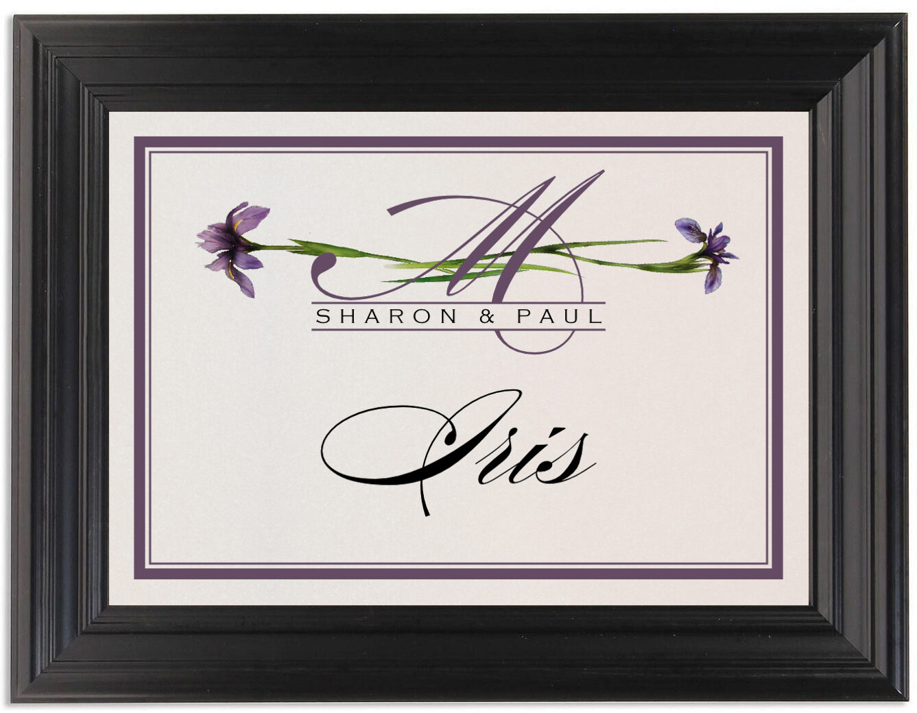 Framed Photograph of Wispy Iris Table Names