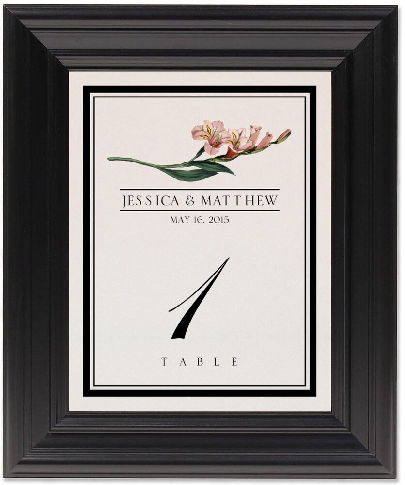Framed Photograph of Assorted Flowers and Monogram Table Numbers
