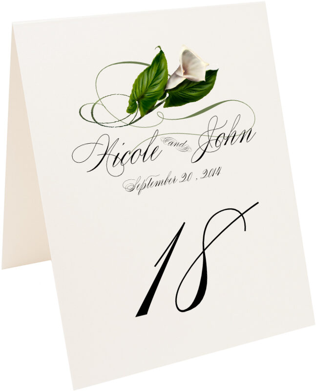Photograph of Tented Calla Lily Swirl Table Numbers