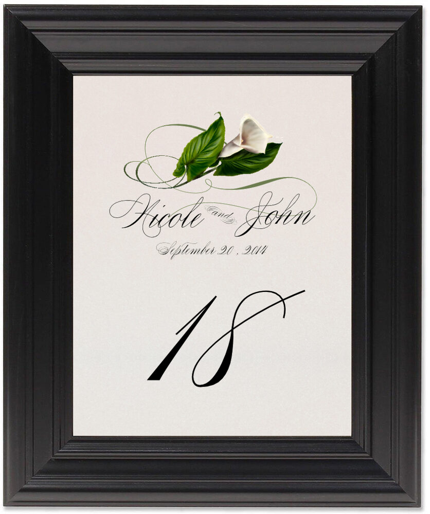 Framed Photograph of Calla Lily Swirl Table Numbers