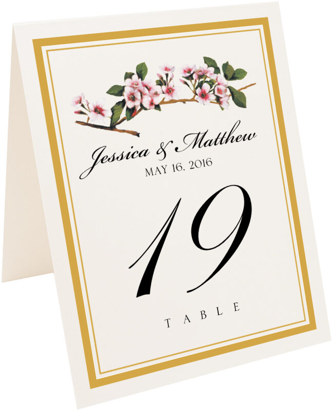 Photograph of Tented Cherry Blossoms Table Numbers