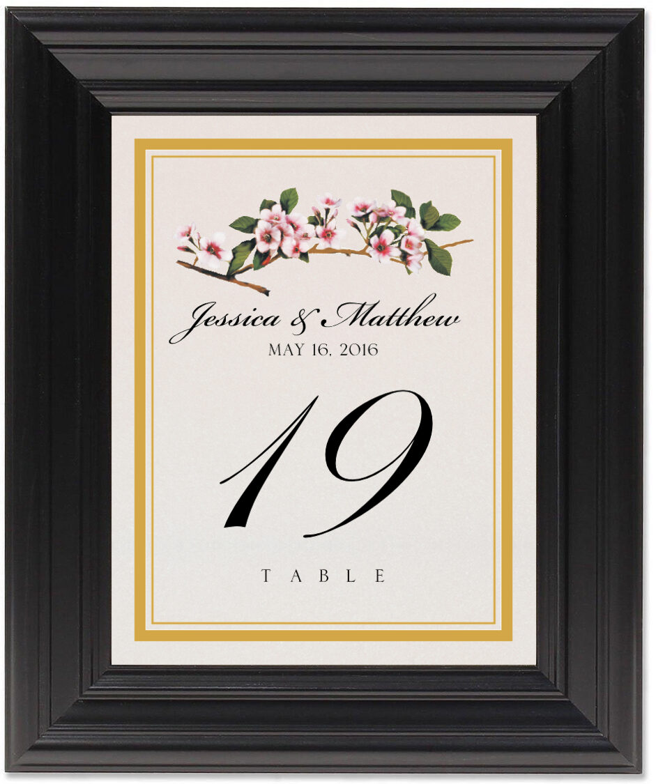 Framed Photograph of Cherry Blossoms Table Numbers