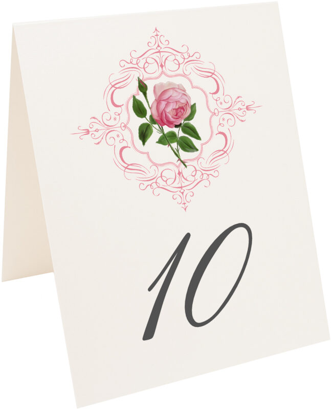 Photograph of Tented Pink Tea Rose Table Numbers