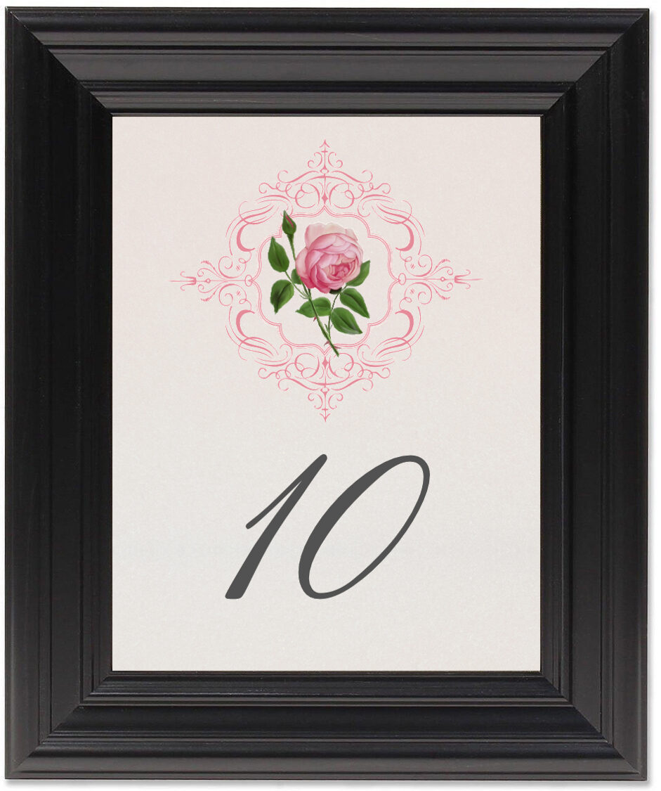 Framed Photograph of Pink Tea Rose Table Numbers