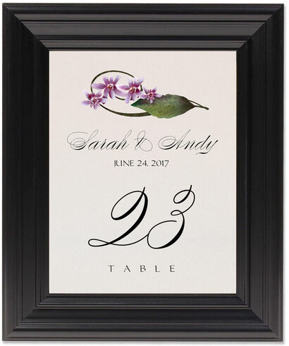 Framed Photograph of Purple Calypso Orchid Table Numbers