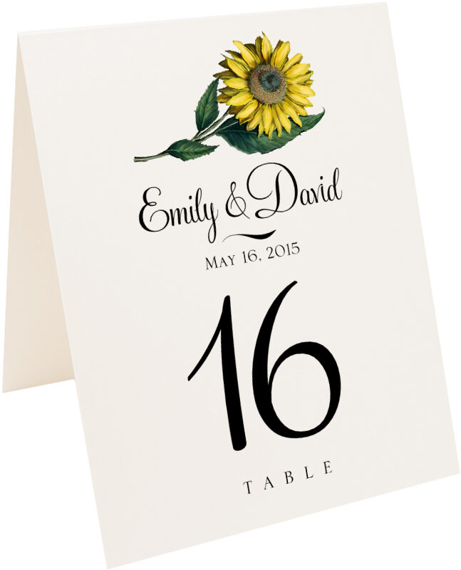 Photograph of Tented Sunflower Table Numbers