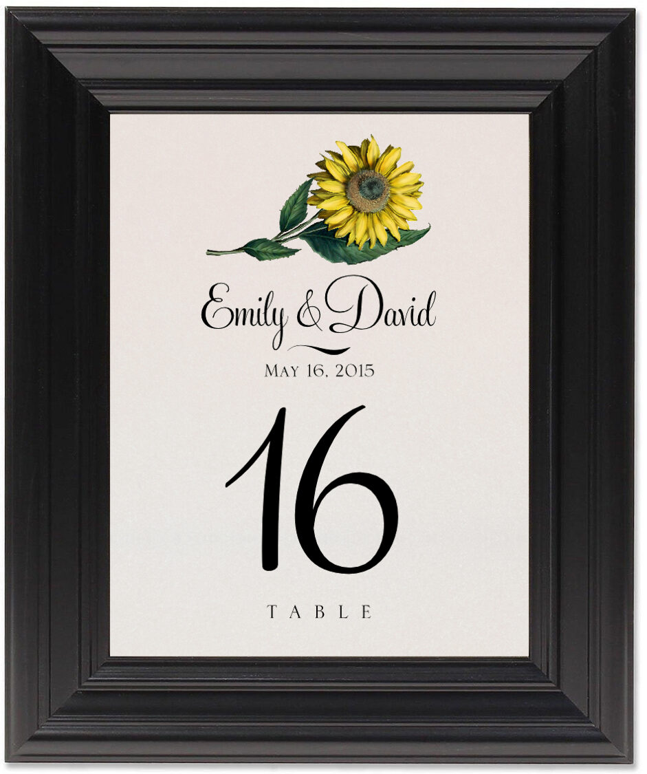Framed Photograph of Sunflower Table Numbers