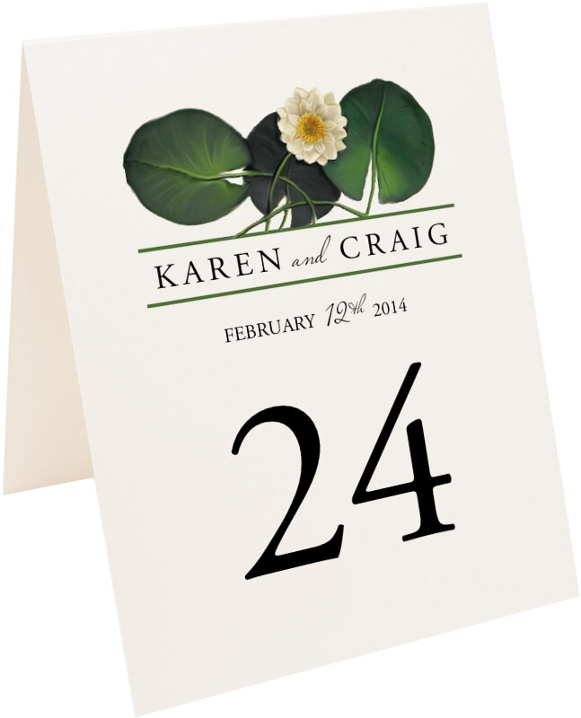 Photograph of Tented Water Lily Patch Table Numbers