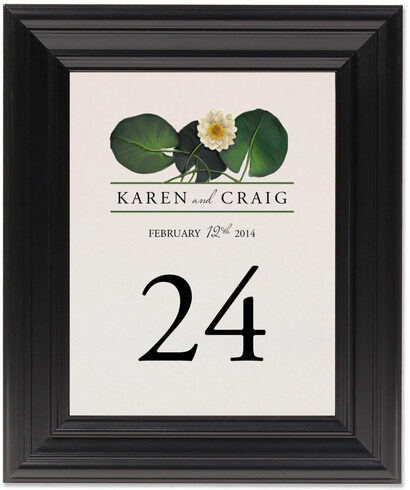 Framed Photograph of Water Lily Patch Table Numbers
