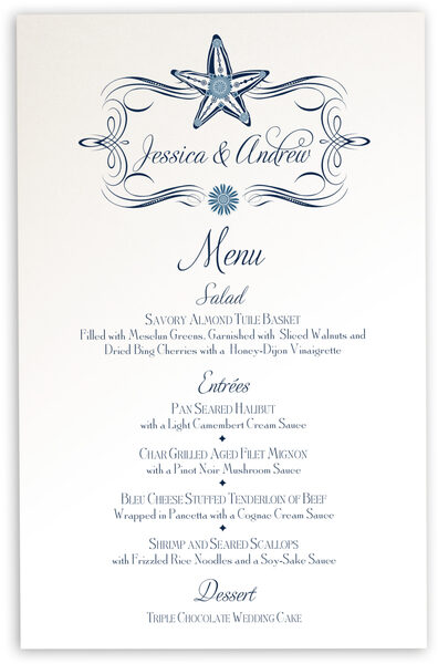Photograph of Paisley Starfish Monogram Wedding Menus