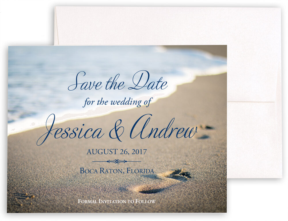 Photograph of Beach Footprints Save the Dates