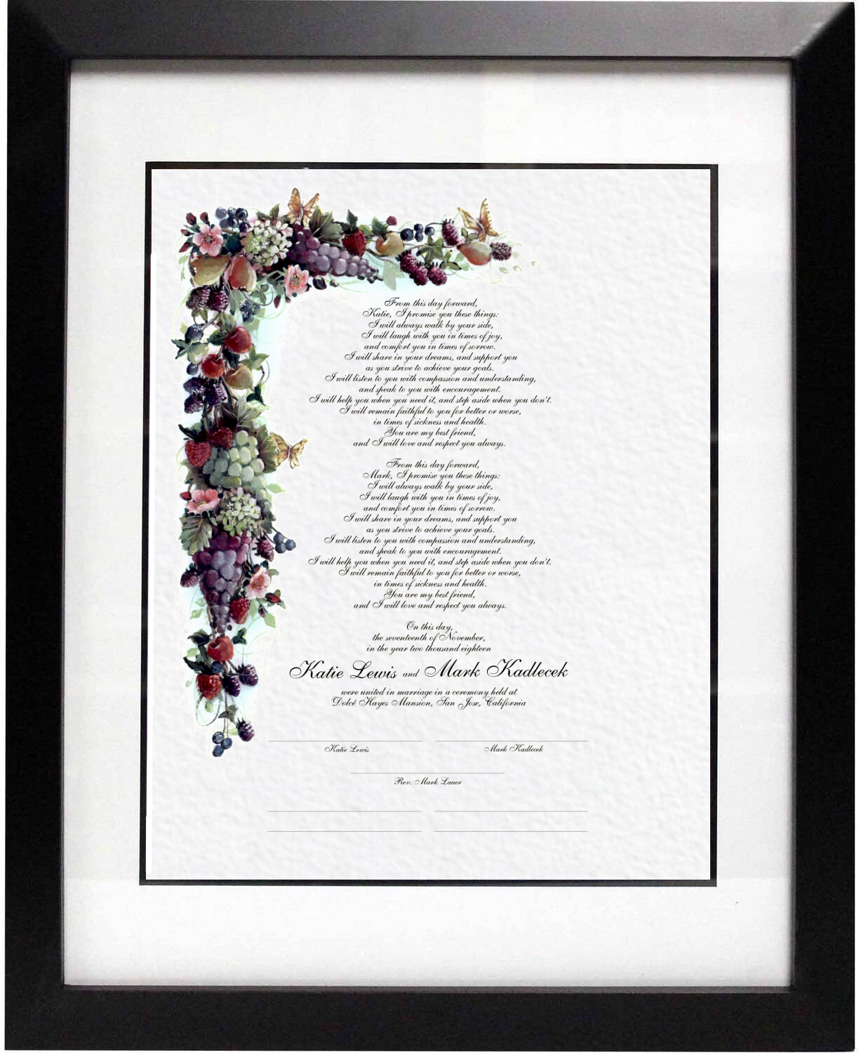 Photograph of Fruit and Butterflies Wedding Certificates