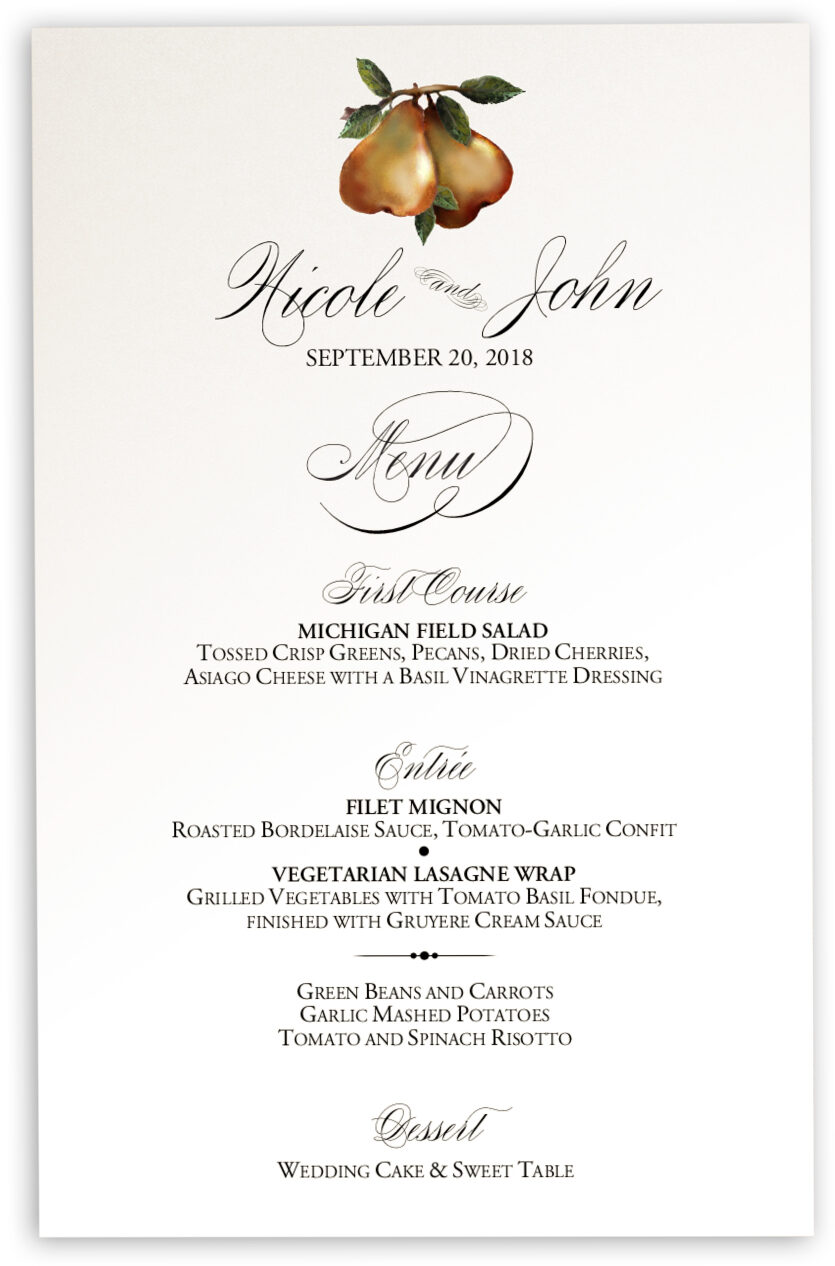 Photograph of Two Pears Wedding Menus