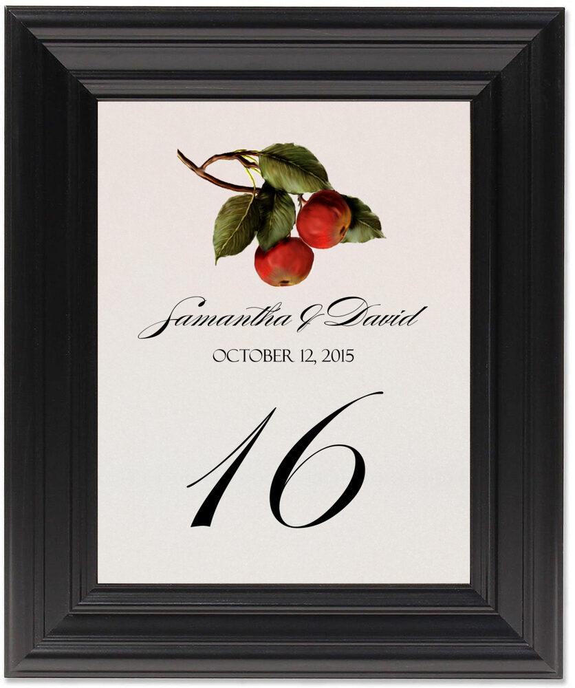 Framed Photograph of Apples Table Numbers