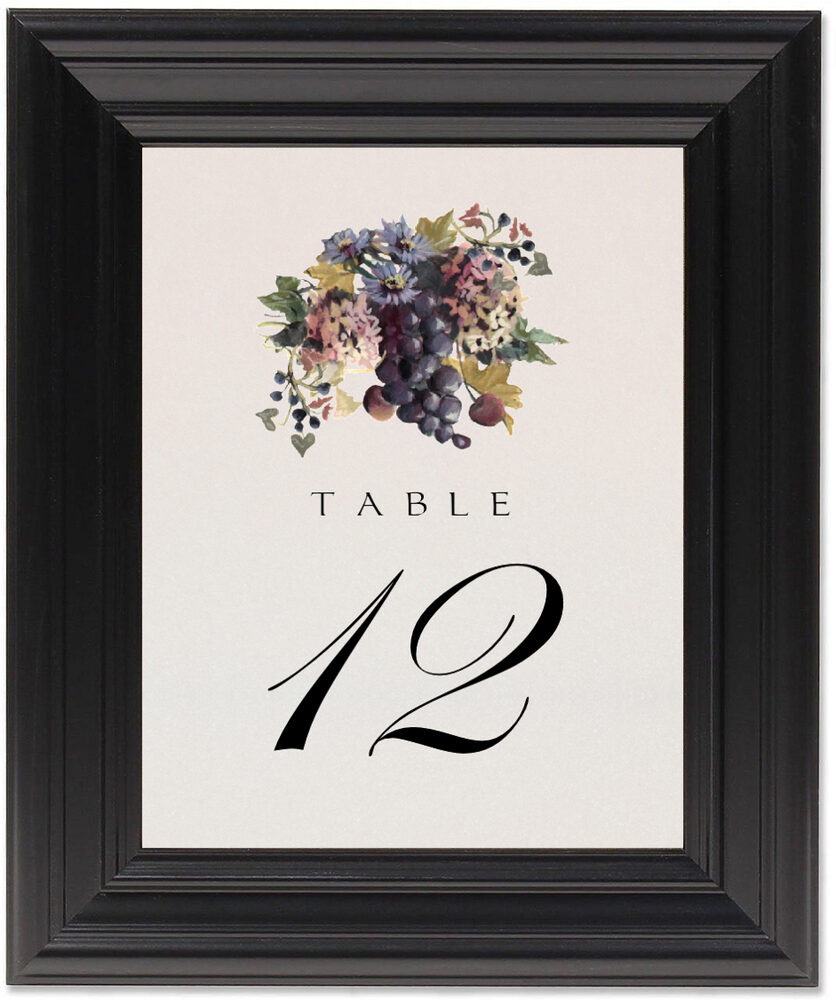 Framed Photograph of Blue Grapes and Chicory 01 Table Numbers