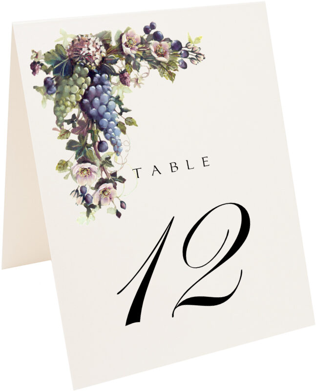 Photograph of Tented Green and Blue Grapes Table Numbers
