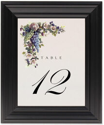 Framed Photograph of Green and Blue Grapes Table Numbers