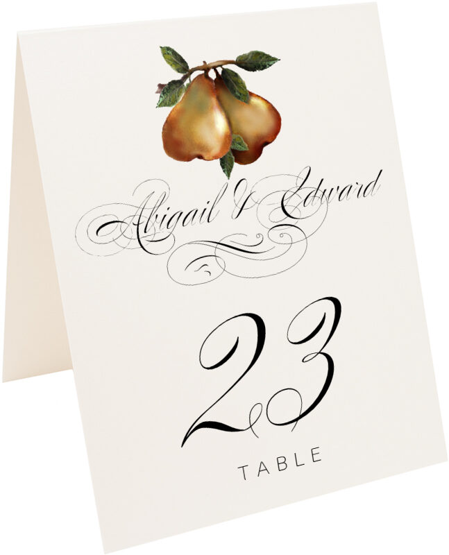 Photograph of Tented Two Pears Table Numbers