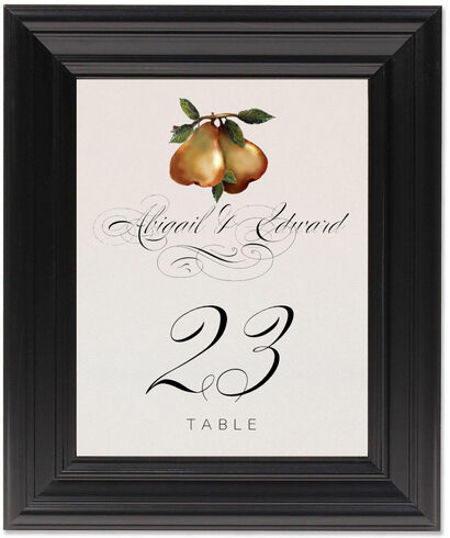 Framed Photograph of Two Pears Table Numbers
