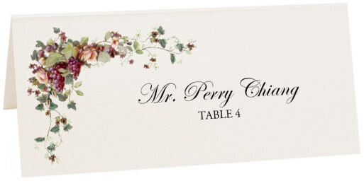 Photograph of Tented Grapes and Peach Roses Place Cards