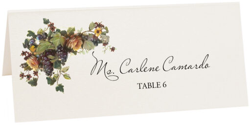 Photograph of Tented Grapes and Yellow Roses Place Cards