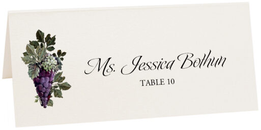 Photograph of Tented Purple Grapes Place Cards