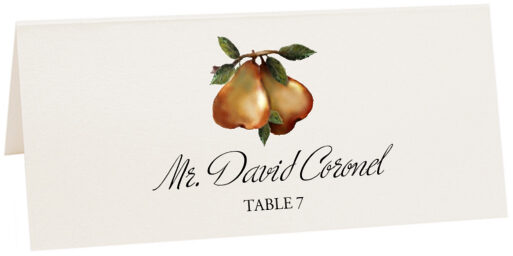 Photograph of Tented Two Pears Place Cards