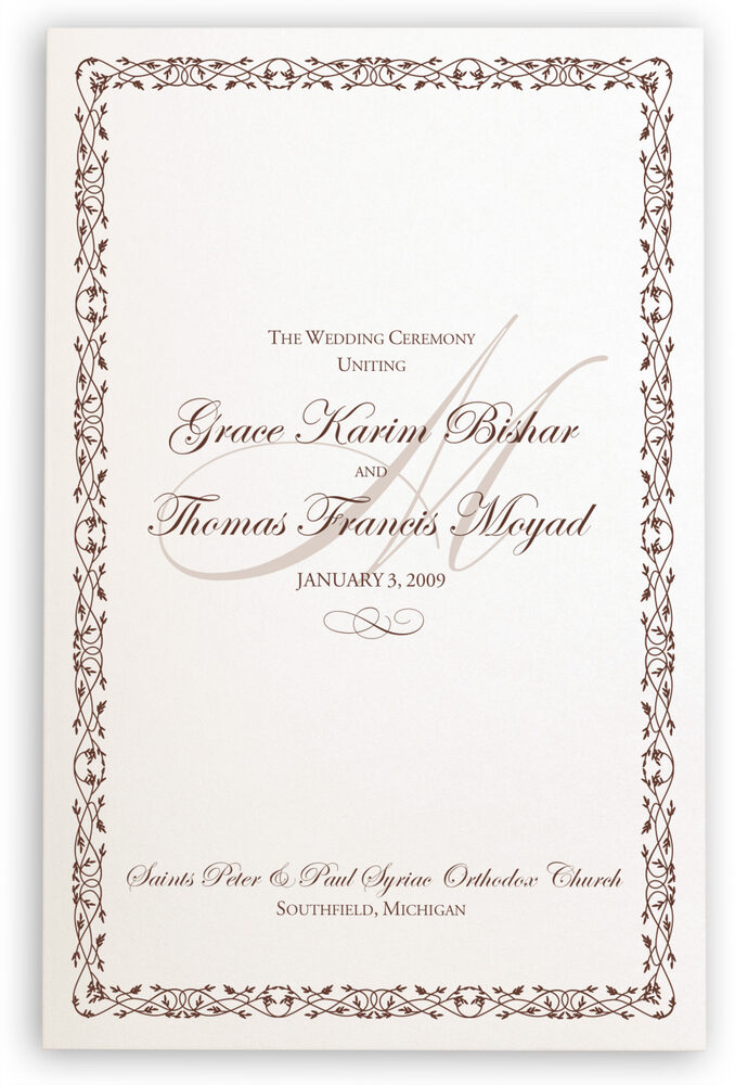 Photograph of Celtic Leaf and Watermark Wedding Programs