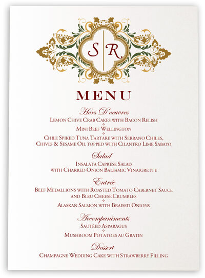 Photograph of Eden Wedding Menus