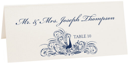 Photograph of Tented Peacock Flourish Place Cards