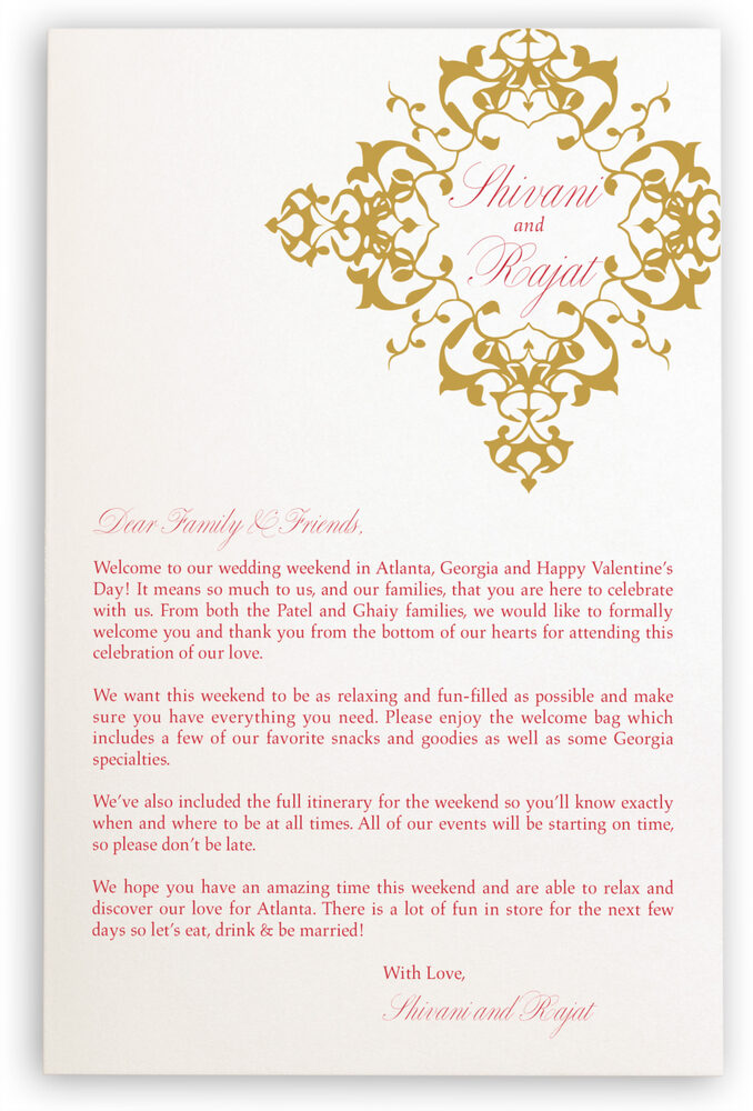 Photograph of Diamond Mandala Welcome Letter Wedding Programs