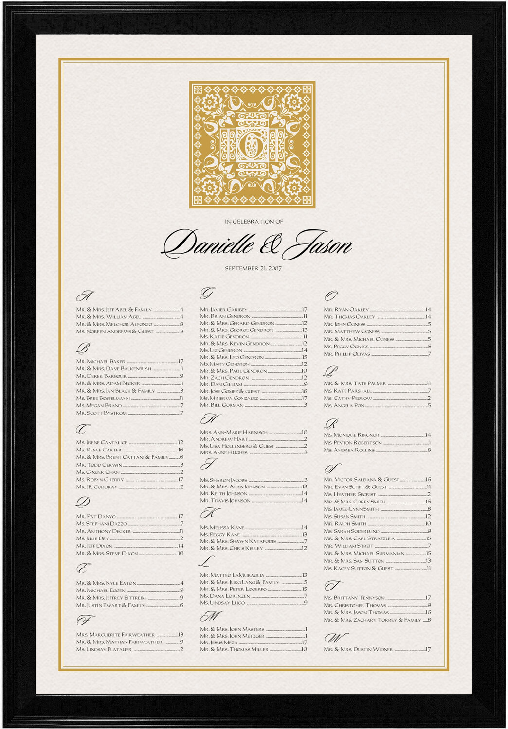 Photograph of Floral Paisley Pattern Seating Charts