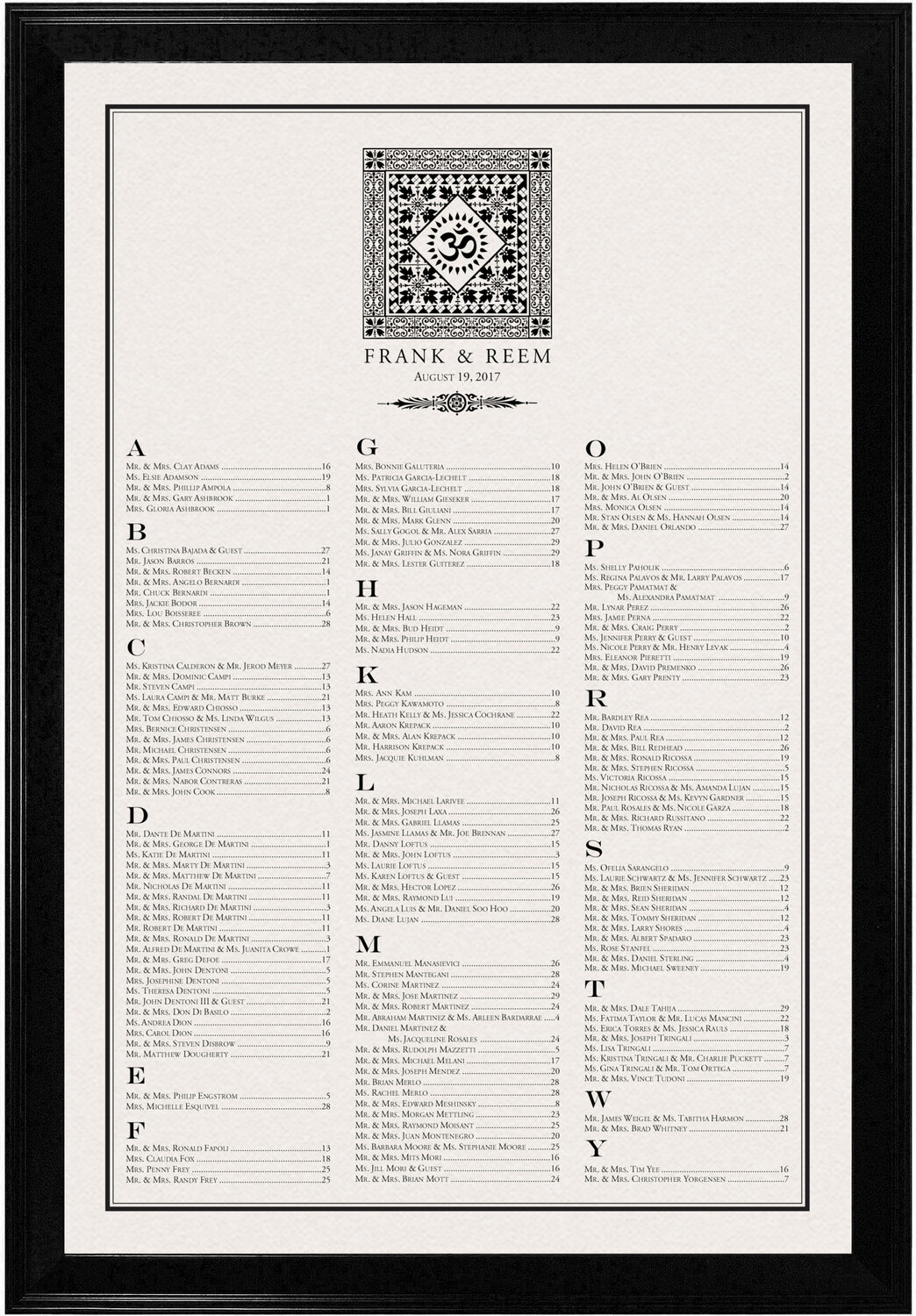 Photograph of Square Om Monogram Pattern Seating Charts