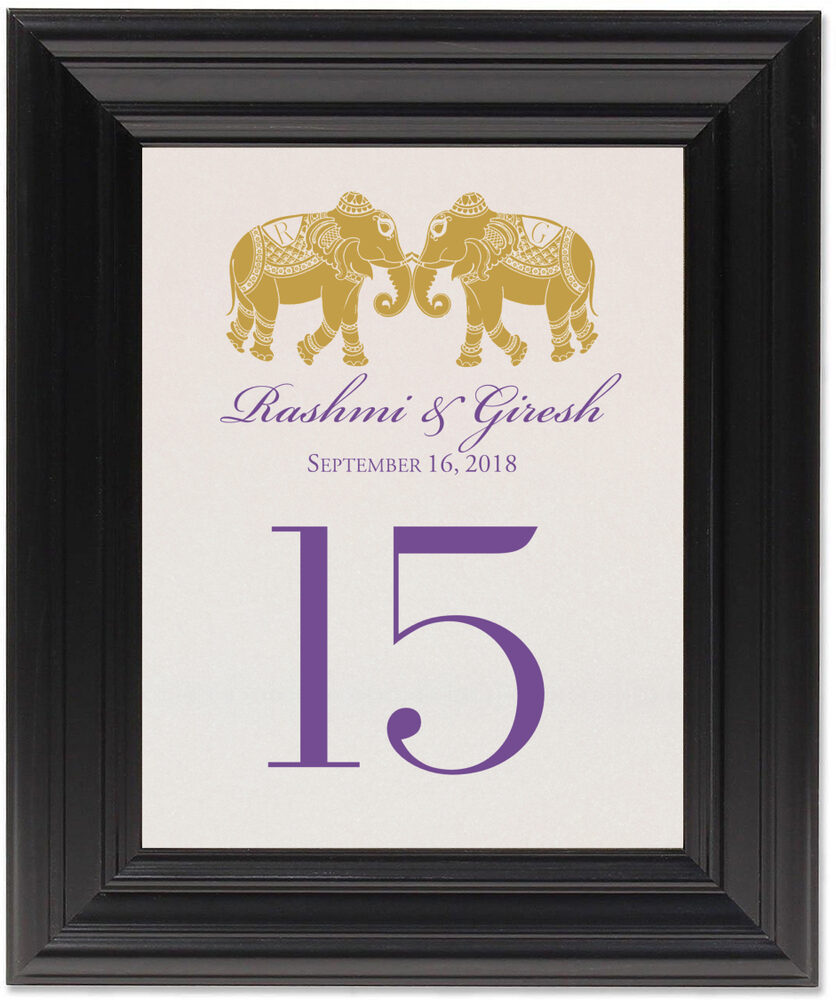 Framed Photograph of Indian Elephants Table Numbers