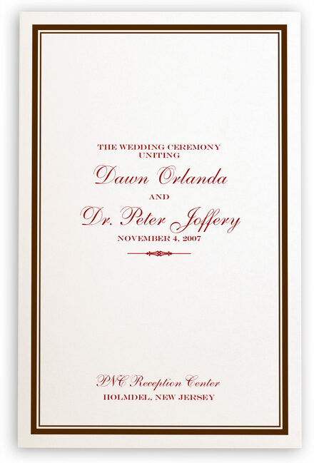 Photograph of Elegance and Engravers Wedding Programs