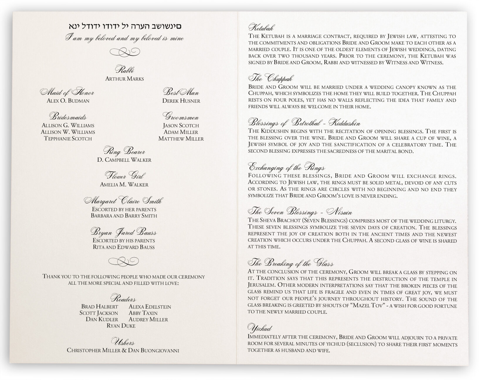 Wedding Ceremony Programs.Hand Of Miriam Jewish Wedding Ceremony Programs With Hamsa