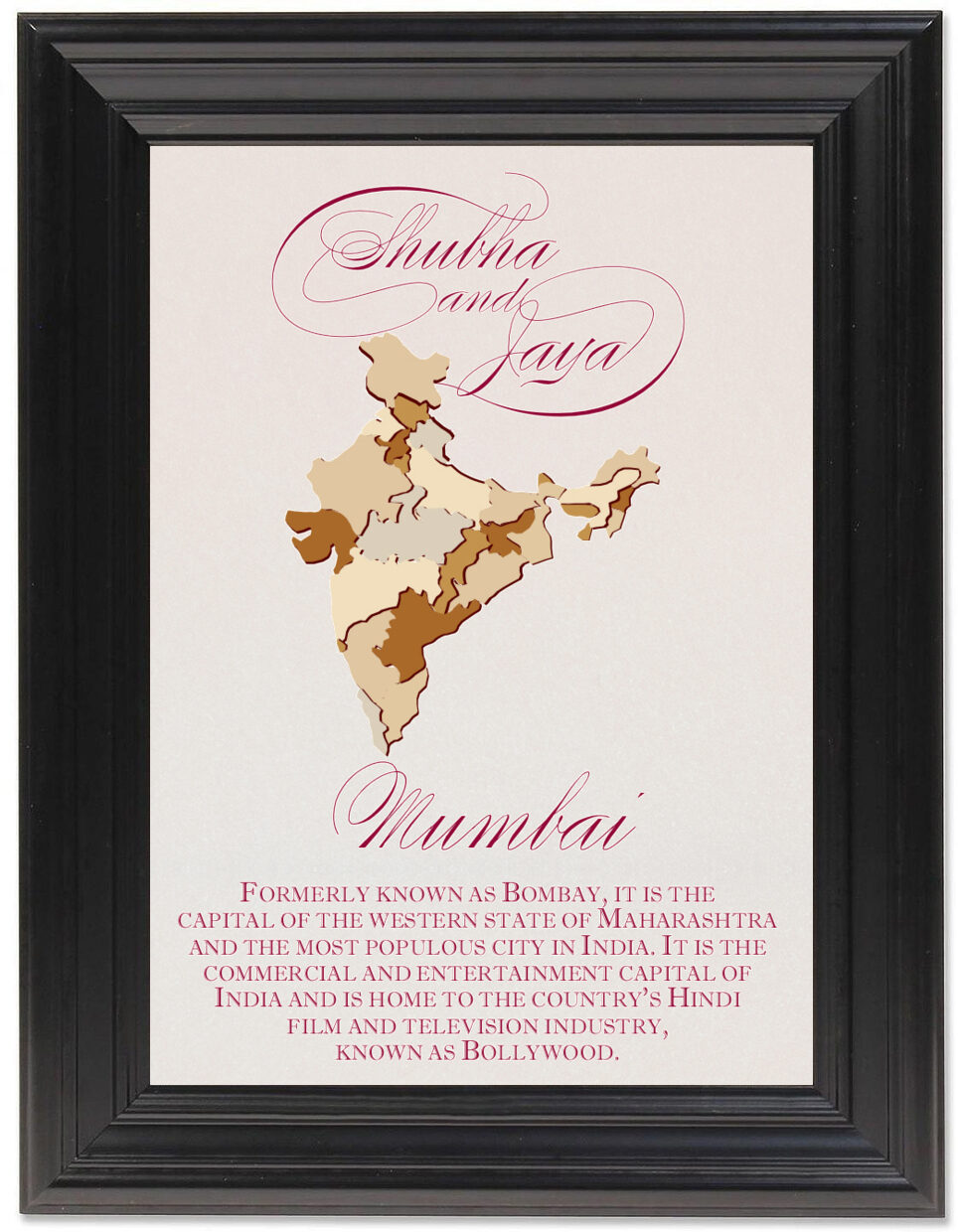 Framed Photograph of Map Of India Memorabilia Cards
